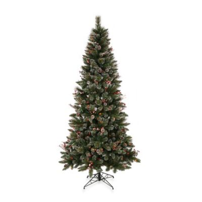 Vickerman 7-Foot Snow Tipped Pine/Berry Tree with Multicolor Lights