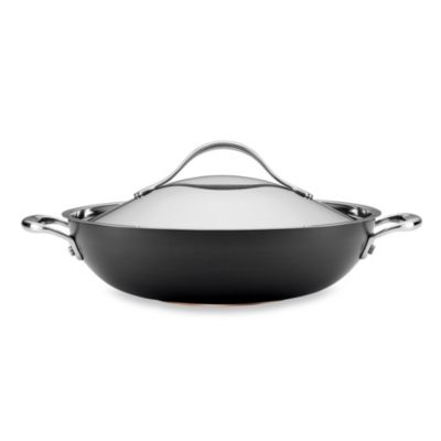 Anolon® Nouvelle Copper Nonstick 12-Inch Covered Wok in Grey