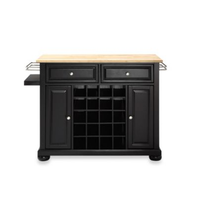 Crosley Alexandria Natural Wood Top Wine Island in Black