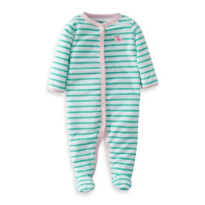 Carter's® Sleep and Play Stripe Bird 1-Piece Footie in Turquoise