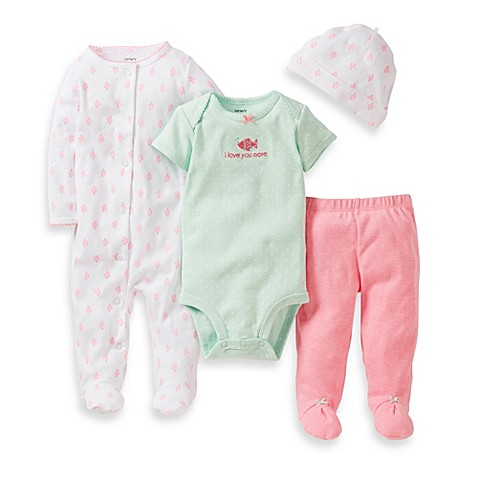 Carter's® 4-Piece Mint Pink Fish Footie Set