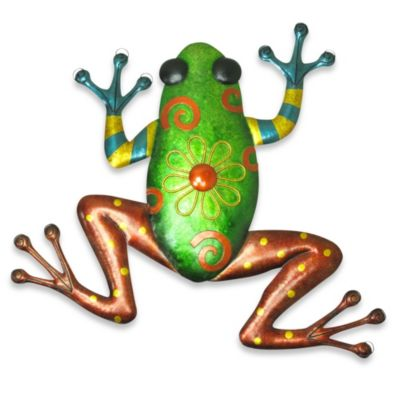 Metallic Green Frog Plaque Indoor/Outdoor Wall Art