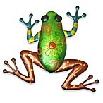 Indoor/Outdoor Metallic Green Frog Metal Wall Art