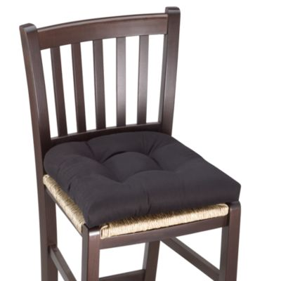 Twill Chair Pad with Hot Dot Back in Black