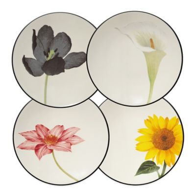Noritake® Colorwave Floral Accent Plates in Graphite (Set of 4)
