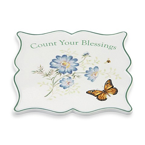 Lenox® Butterfly Meadow® 6.75-Inch Sentiment Trivet Blessings