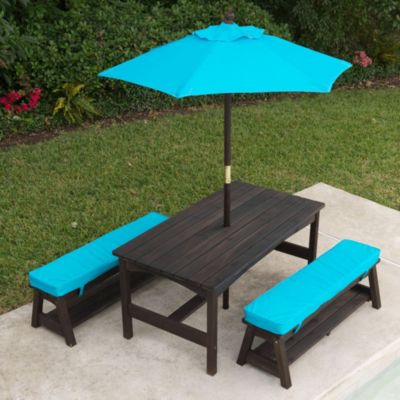 KidKraft® Outdoor Kona Table with Benches and Green Umbrella