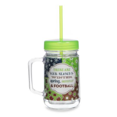Four Seasons 22-Ounce Acrylic Mason Jar with Lid & Straw