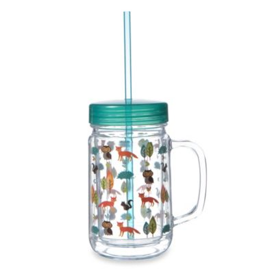 Woodland Acres 22-Ounce Acrylic Mason Jar with Lid & Straw
