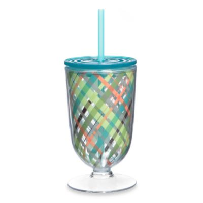 Pastel Striped 18-Ounce Acrylic Footed Iced Tea Glass with Lid & Straw