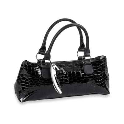 Insulated Wine Purse in Black Croc