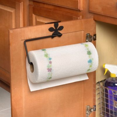Flower Over the Cabinet-Door Paper Towel Holder in Black