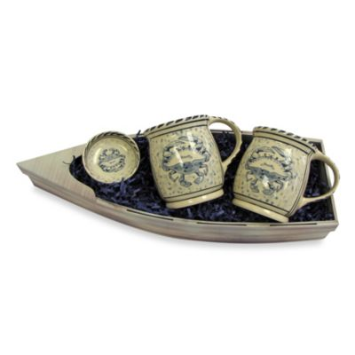 Blue Crab Mugs with Condiment Dish Gift Set