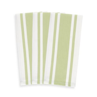 3-Pack of Heavyweight Striped Kitchen Towels, 100% Cotton in Green