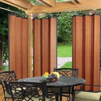 Easy Glide All Natural Bamboo Ring Top 72-Inch Window Curtain Panel in Cedar