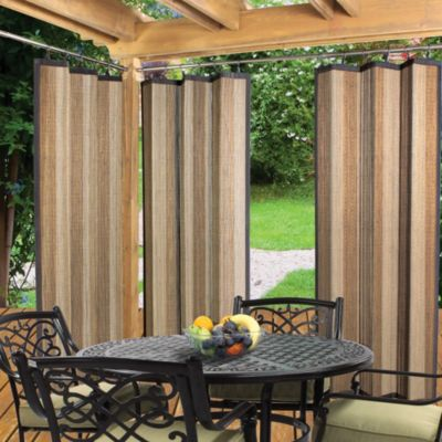 Easy Glide Indoor/Outdoor 72-Inch Bamboo Ring Top Panel in Tan