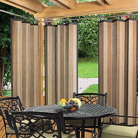 Easy Glide Indoor Outdoor 72 Inch Bamboo Ring Top Window Curtain Panel In Tan Bed Bath Beyond