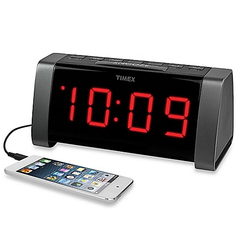 buy timex am fm jumbo display dual alarm clock radio in black from bed bath beyond. Black Bedroom Furniture Sets. Home Design Ideas