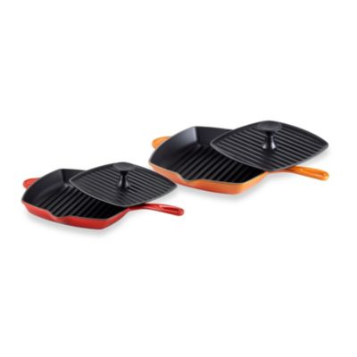 Le Creuset® Panini Press and Skillet Grill Set in Flame