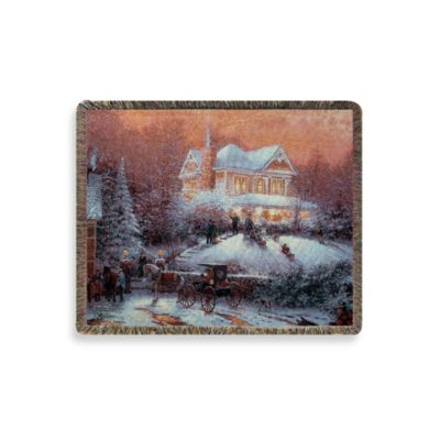 Thomas Kinkade Holiday Victorian Christmas Throw Blanket