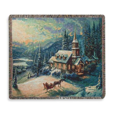 Thomas Kinkade Holiday Sunday Evening Sleigh Ride Throw Blanket