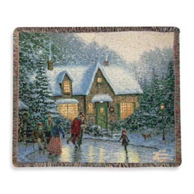 Thomas Kinkade Holiday Skater's Pond Throw Blanket