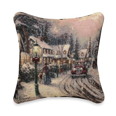 Thomas Kinkade Village Christmas Pillow