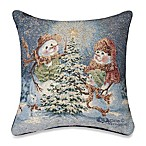 Snow Family 17-Inch Square Holiday Tapestry Accent Pillow