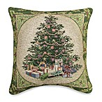 Holly Tree 17-Inch Square Holiday Tapestry Accent Pillow