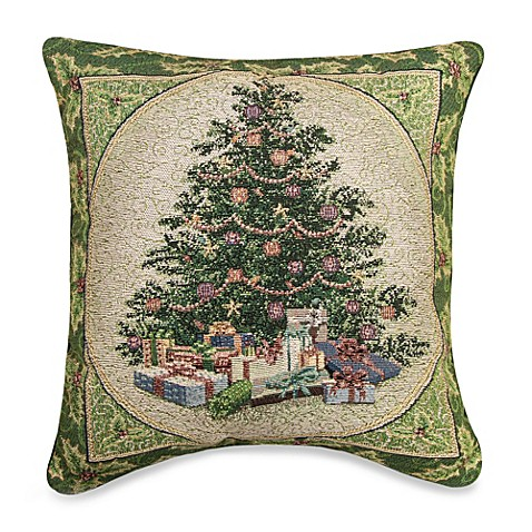 Holly Tree 17 Inch Square Holiday Tapestry Accent Pillow