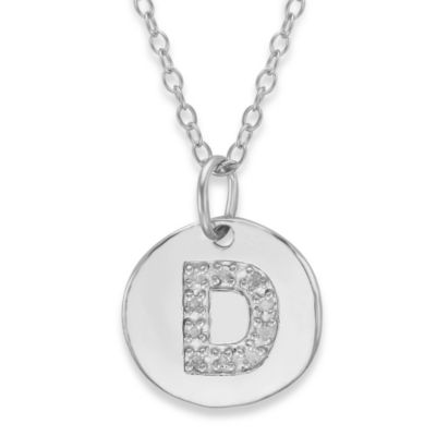 "Sterling Silver .05 cttw Diamond Initial ""D"" Pendant"