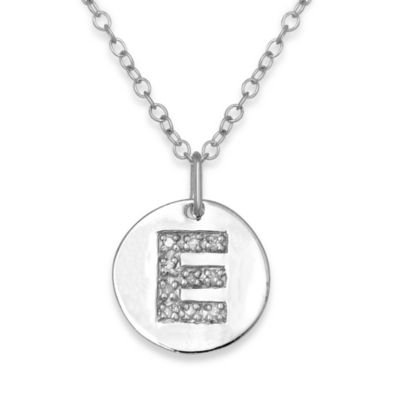 "Sterling Silver .05 cttw Diamond Initial ""E"" Pendant"