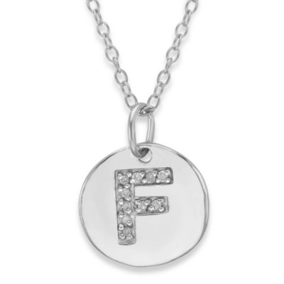 "Sterling Silver .05 cttw Diamond Initial ""F"" Pendant"