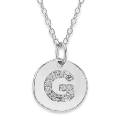 "Sterling Silver .05 cttw Diamond Initial ""G"" Pendant"