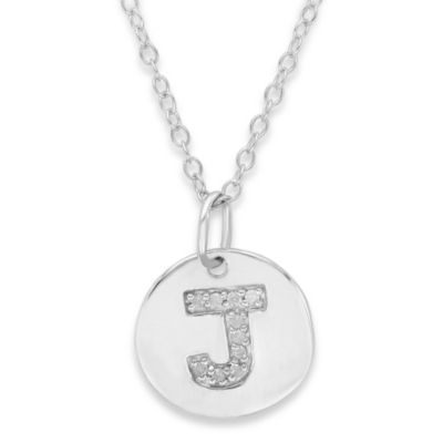 "Sterling Silver .05 cttw Diamond Initial ""J"" Pendant"