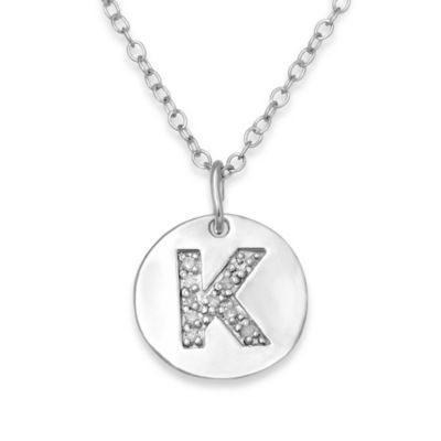 "Sterling Silver .05 cttw Diamond Initial ""K"" Pendant"