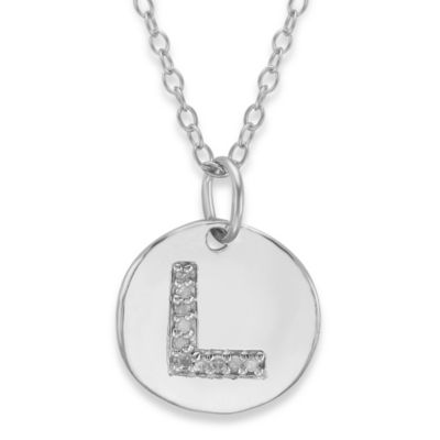 "Sterling Silver .05 cttw Diamond Initial ""L"" Pendant"