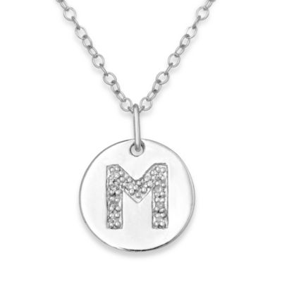 "Sterling Silver .05 cttw Diamond Initial ""M"" Pendant"
