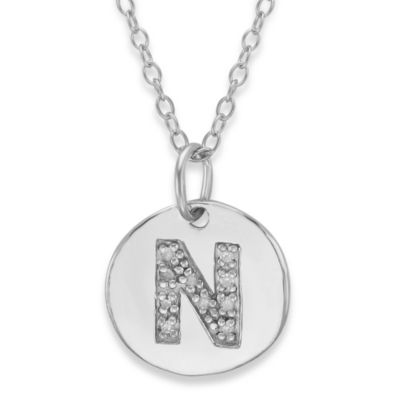 "Sterling Silver .05 cttw Diamond Initial ""N"" Pendant"