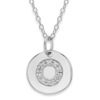 "Sterling Silver .05 cttw Diamond Initial ""O"" Pendant"