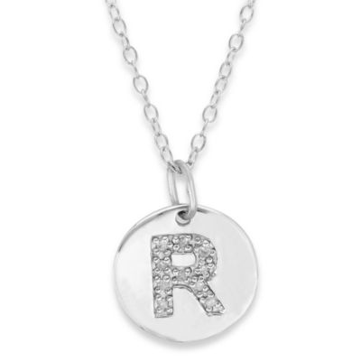 "Sterling Silver .05 cttw Diamond Initial ""R"" Pendant"