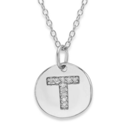 "Sterling Silver .05 cttw Diamond Initial ""T"" Pendant"