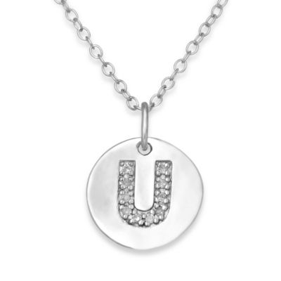 "Sterling Silver .05 cttw Diamond Initial ""U"" Pendant"