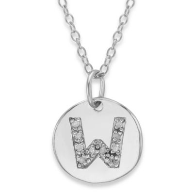 "Sterling Silver .05 cttw Diamond Initial ""W"" Pendant"