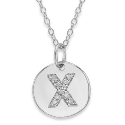 "Sterling Silver .05 cttw Diamond Initial ""X"" Pendant"