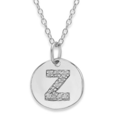 "Sterling Silver .05 cttw Diamond Initial ""Z"" Pendant"