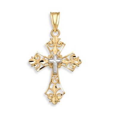 14K Yellow Gold Diamond-Cut Filigree Cross Charm