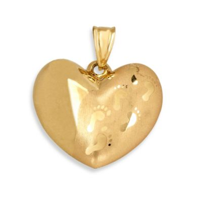 14K Yellow Gold Puffed Heart with Footprints Charm