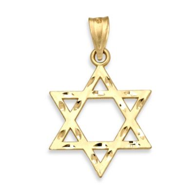 14K Yellow Gold Jewish Star of David Charm