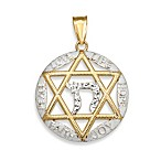 14K Yellow Gold Jewish Star of David Charm with Chai Symbol